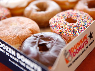 Donuts are pictured at the Dunkin' Donuts store in North Texas on  Wednesday, Dec. 7, 2016. Dunkin' Donuts will make an announce of a major expansion in North Texas. (Jae S. Lee/The Dallas Morning News)