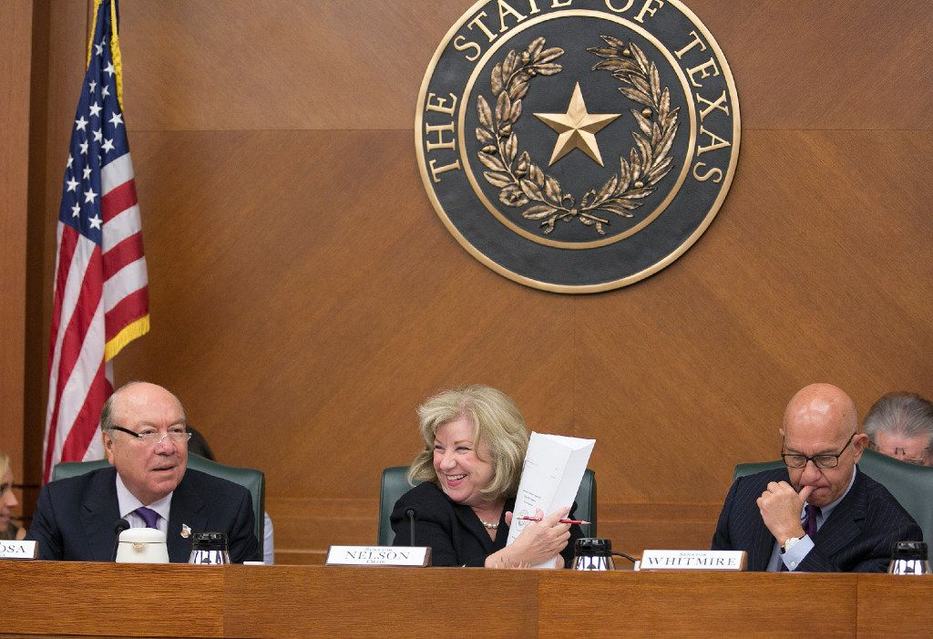 """Flower Mound GOP Sen. Jane Nelson, shown holding a copy of the state budget in late March, said Saturday """"it's mind-boggling"""" some teachers aren't happy with a pay raise bill she's pushing in the current special session."""