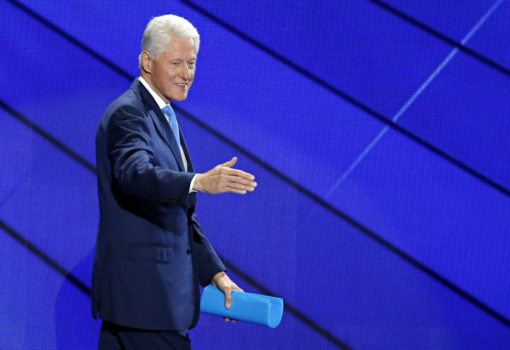 Former President Bill Clinton walked off the stage after his keynote speech at the Democratic National Convention Tuesday.