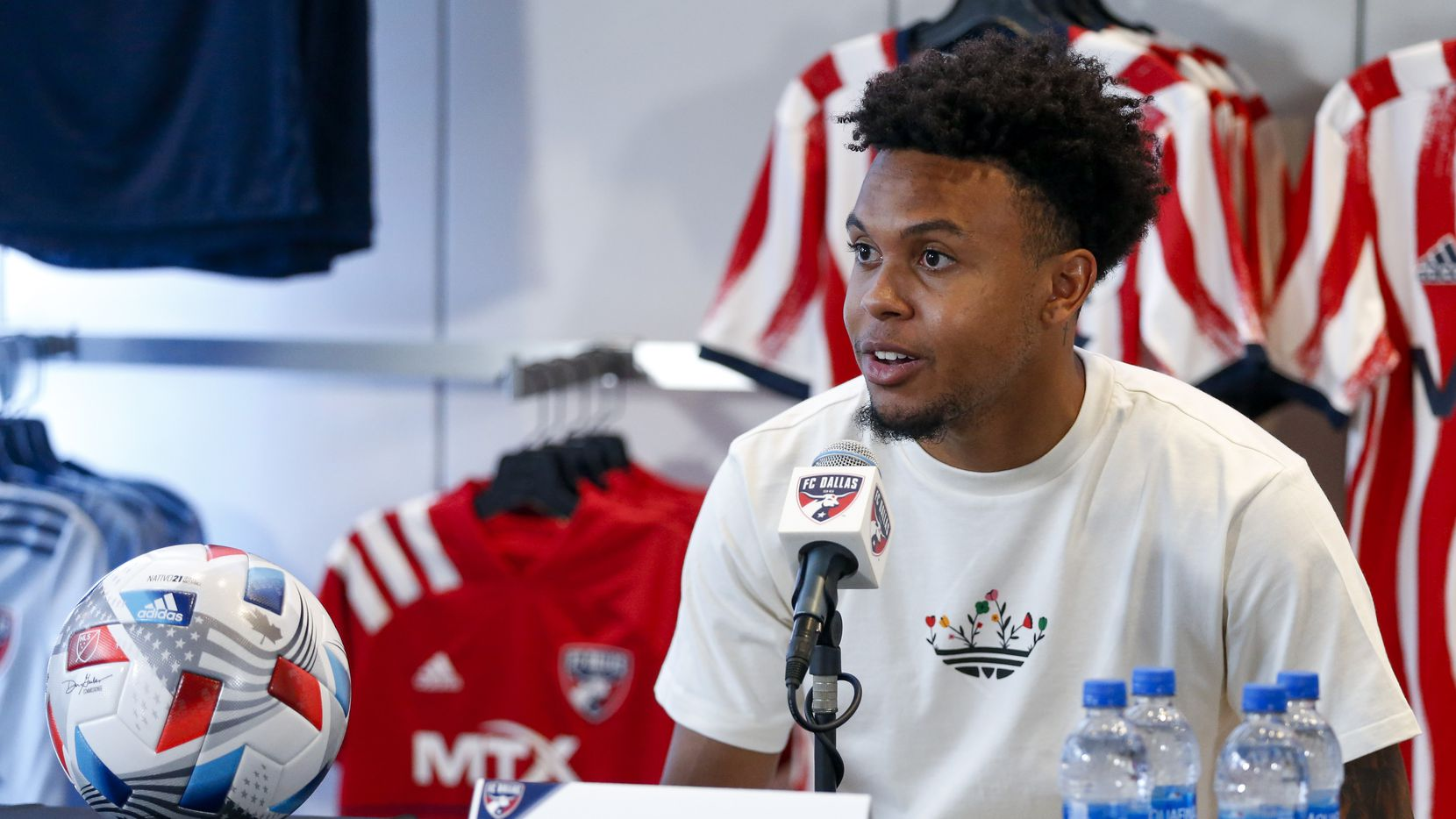 Weston McKennie, Juventus and U.S. Men's National Team midfielder, speaks during a press conference at the National Soccer Hall of Fame at Toyota Stadium on Thursday, June 24, 2021, in Frisco.
