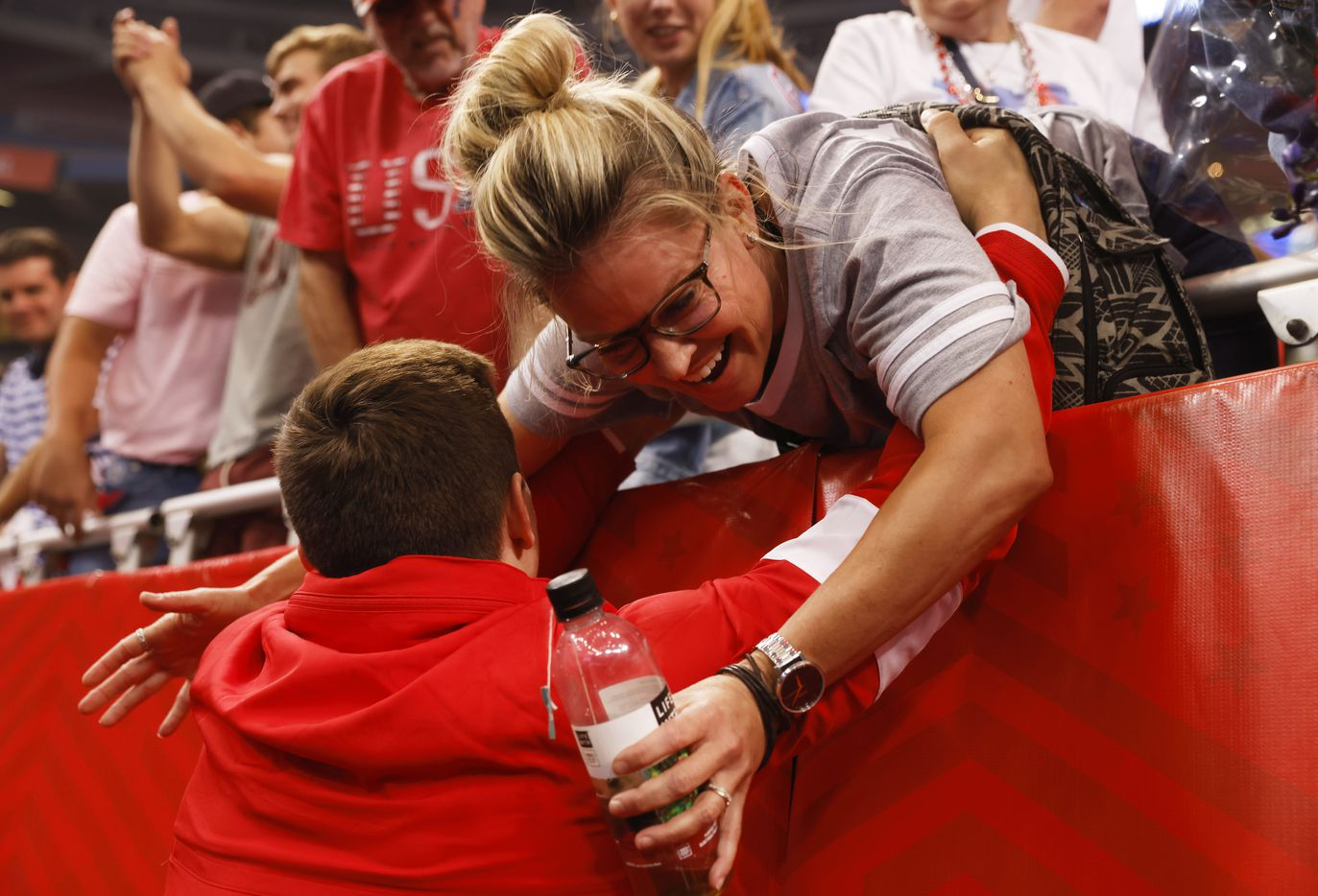 Brody Malone visits with family and friends after he was announced as a member of the U.S. mens olympic team during day 2 of the men's 2021 U.S. Olympic Trials at America's Center on Saturday, June 26, 2021 in St Louis, Missouri.(Vernon Bryant/The Dallas Morning News)