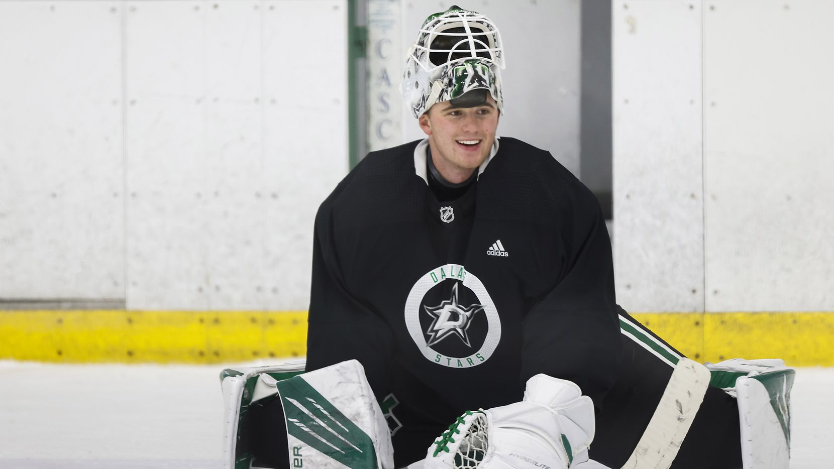 Dallas Stars goaltender Jake Oettinger stretches during a training camp practice at the Comerica Center on Wednesday, Jan. 6, 2021, in Frisco.