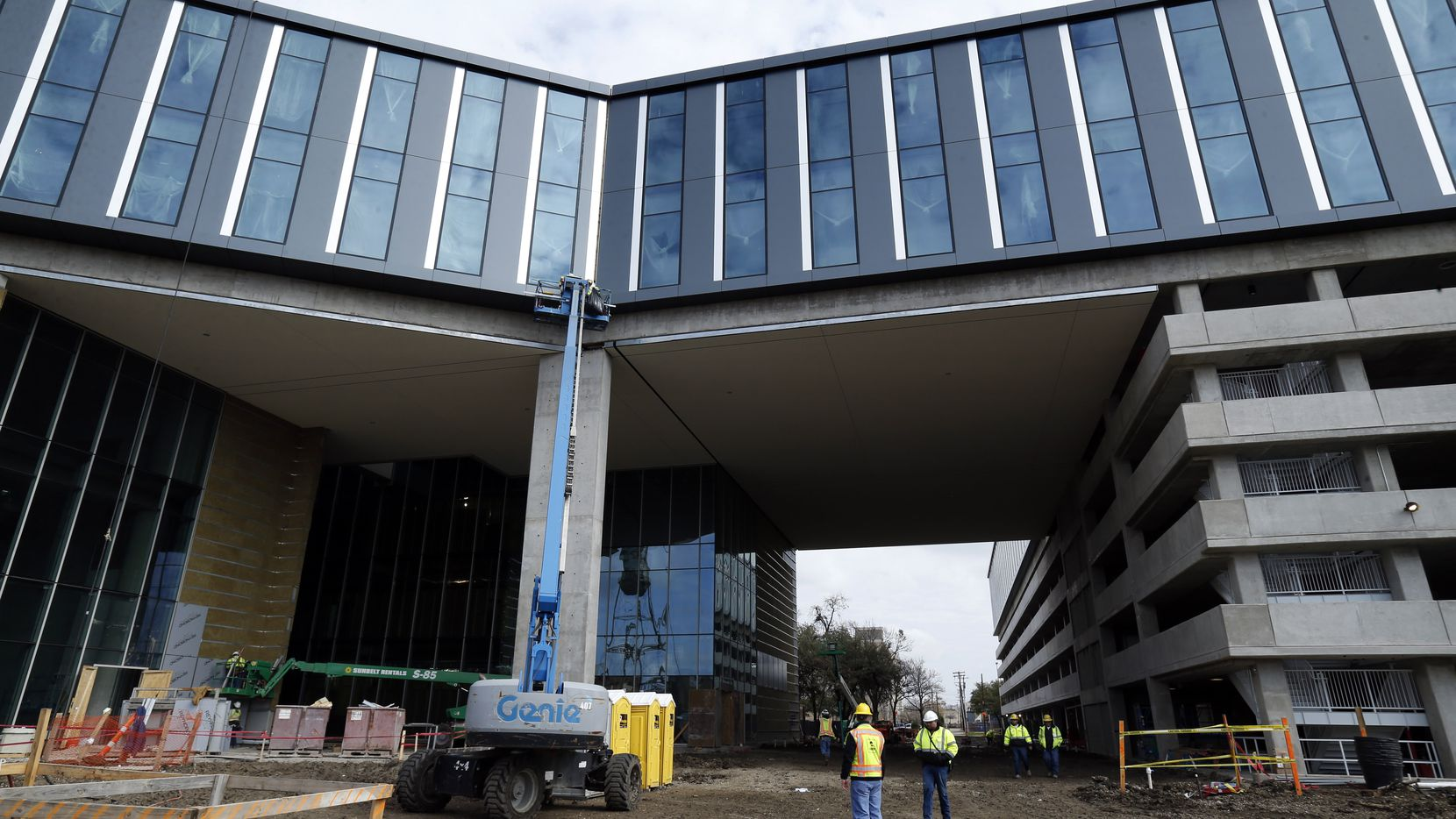 Construction continues on Baylor Scott & White Health's new offices in the Deep Ellum area of Dallas,  The private drive under the fourth and fifth floor leads to the main entrance.  (Tom Fox/The Dallas Morning News)
