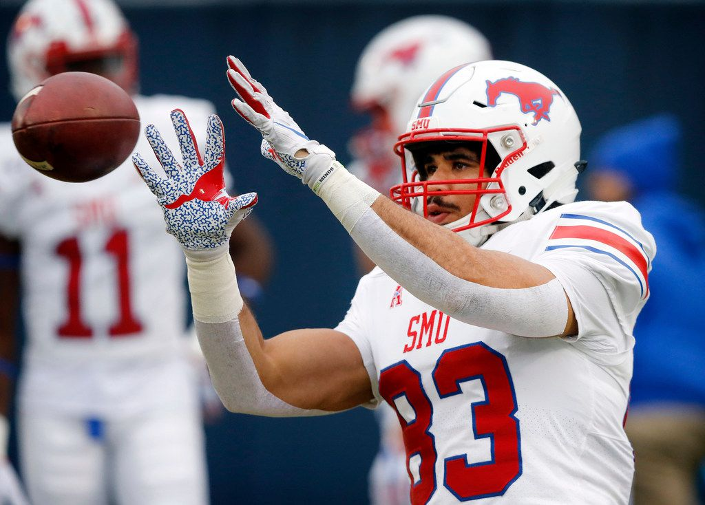 Southern Methodist Mustangs tight end Kylen Granson (83) catches a pass during pregame warmups before facing Navy at Navy-Marine Corps Memorial Stadium in Annapolis, Maryland, Saturday, November 23, 2019.