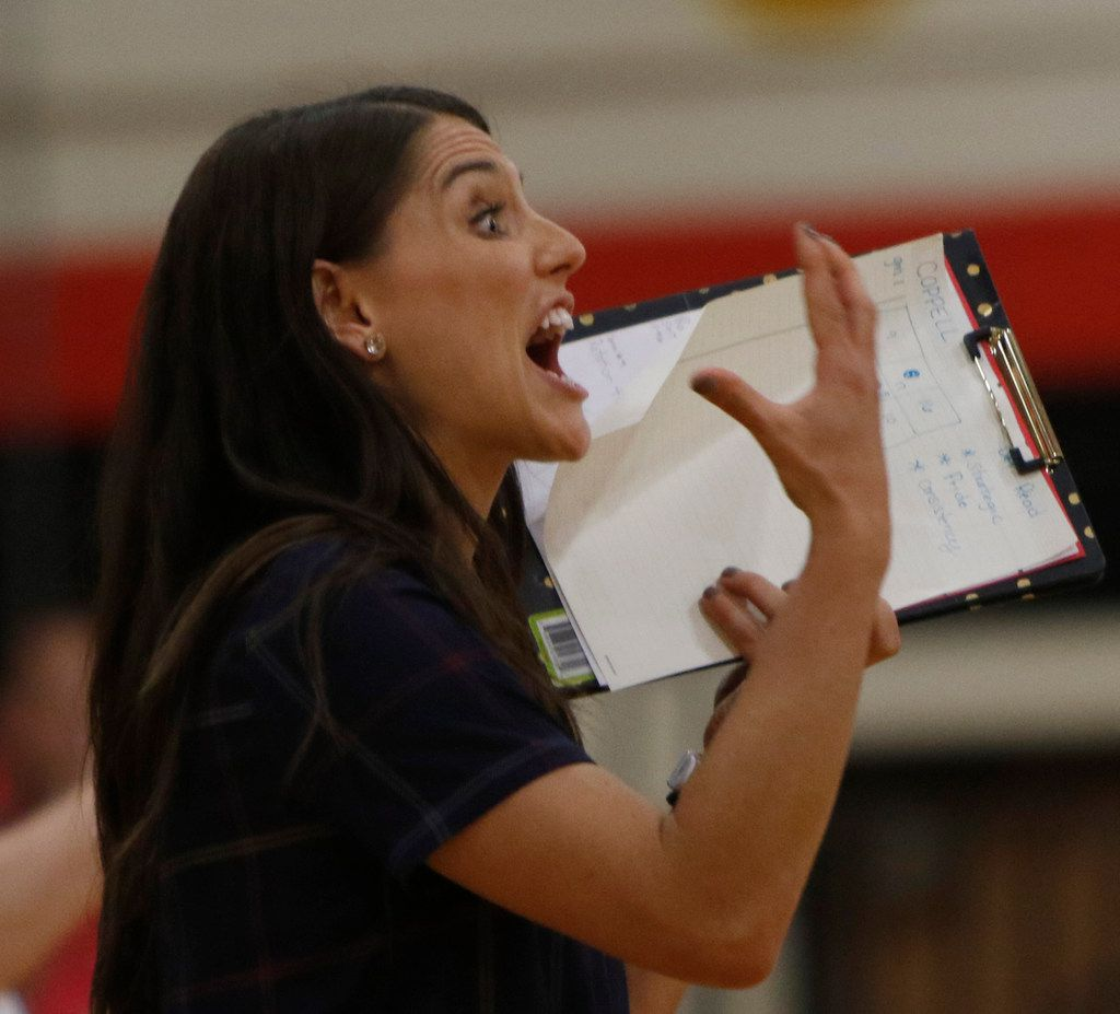Lake Highlands head coach Abbey Perez delivers a message to her players from her spot on the bench during a match last season. Lake Highlands, coming off a tournament win in Rockwall, will host Sachse in one of Tuesday's top matches. (Steve Hamm/Special Contributor)