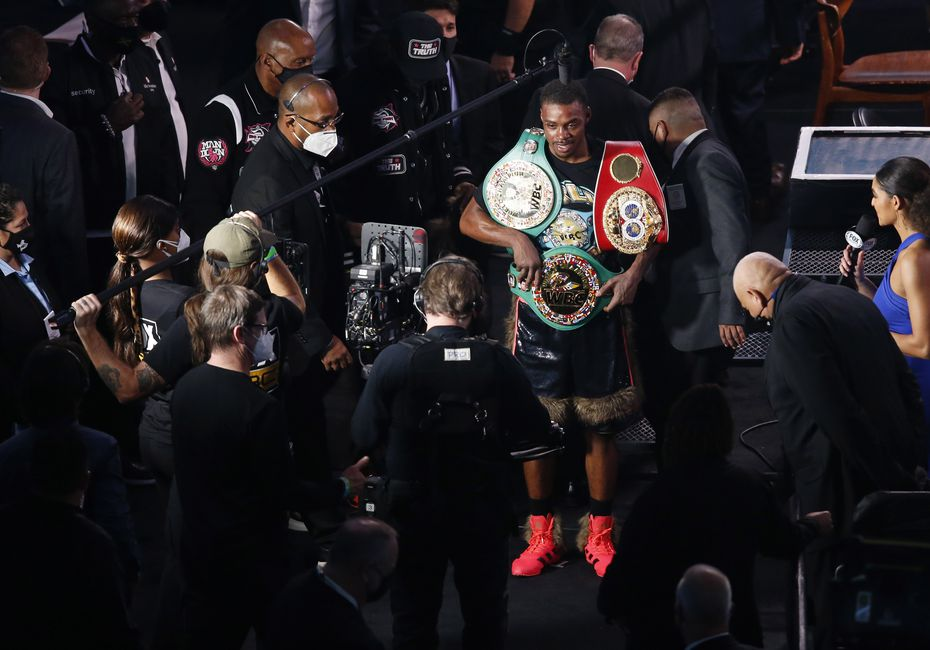 Errol Spence, Jr. with his championship belts after defeating Danny García in a WBC & IBF World Welterweight Championship boxing match at AT&T Stadium on Saturday, December 5, 2020 in Arlington, Texas. Spence Jr. won by unanimous decision in 12 rounds.