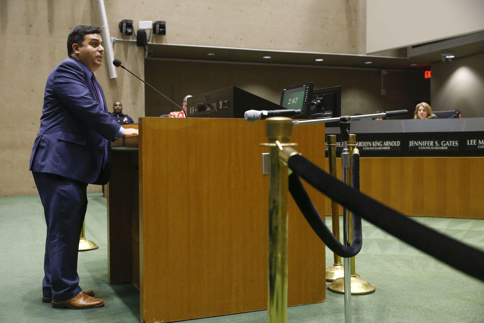 David Lozano, the executive artistic director of Cara Mia Theatre, spoke before the Dallas City Council on Wednesday.