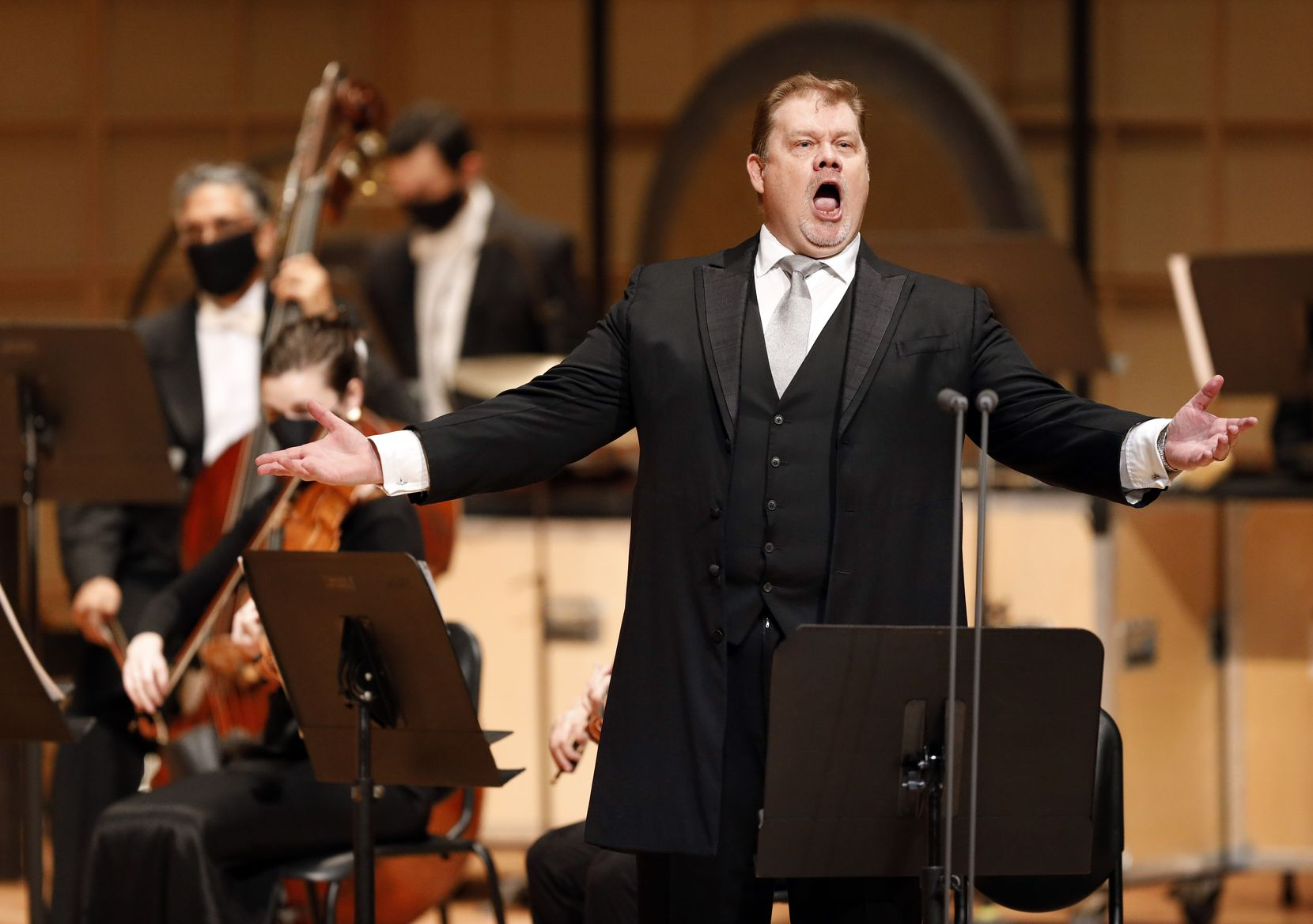 "Tenor Stuart Skelton performs part of Mahler's Das Lied von der Erde, ""The Song of the Earth,""  with mezzo-soprano Tamara Mumford (not pictured) at the Meyerson Symphony Center on Friday, Oct. 9, 2020."
