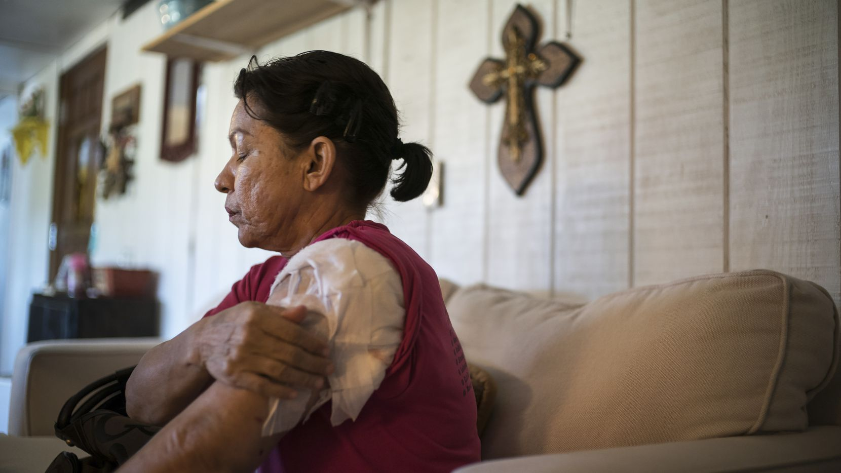 Rosanne Solis, who injured on Nov. 5 when a gunman wearing a skull-face mask opened fire at the First Baptist Church in Sutherland Springs, Texas, is pictured at home home on Nov. 7, 2017.