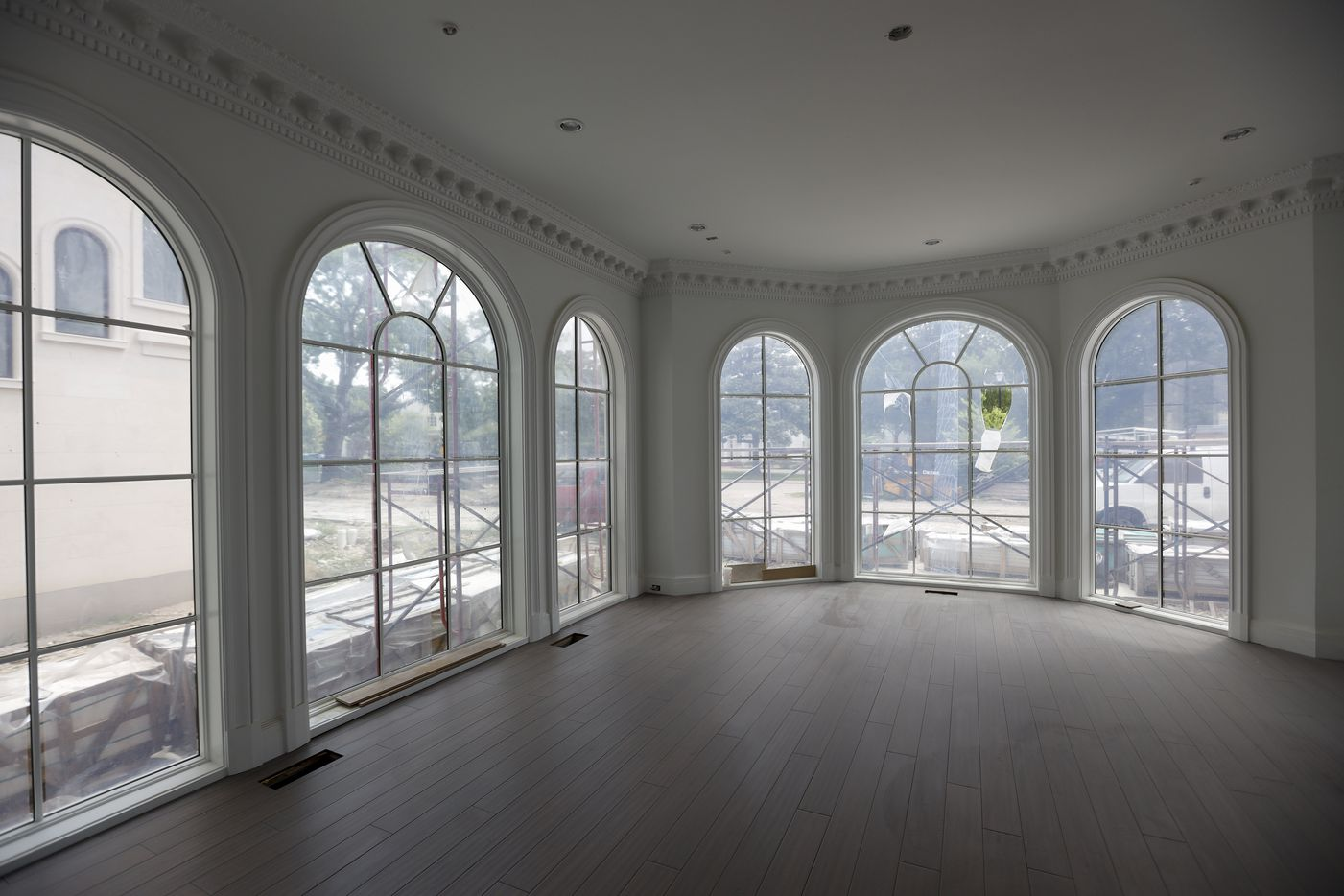 The dining room gets lots of natural light.