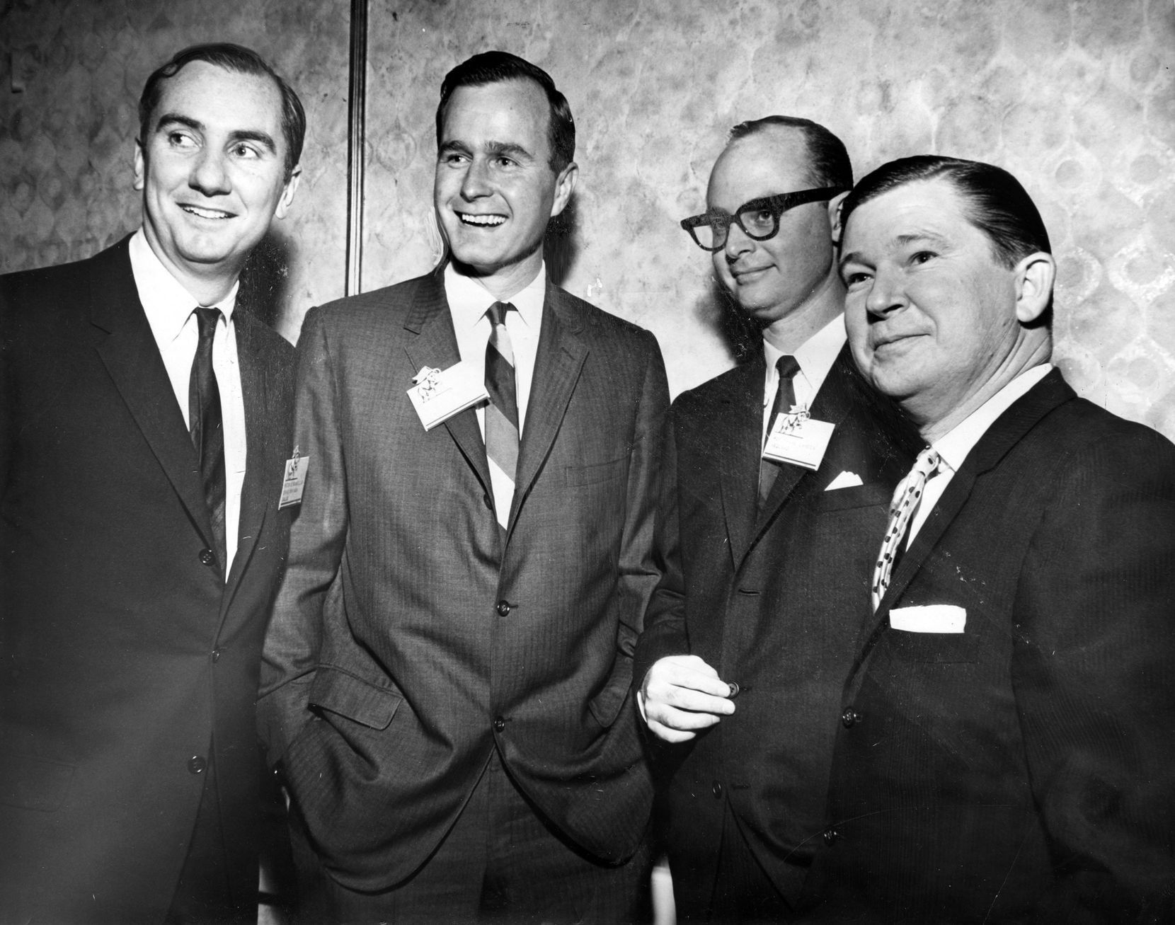 Peter O'Donnell (from left), George H.W. Bush, Frank Cahoon and John Tower.