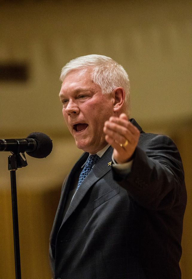 Rep. Pete Sessions (R-Dist. 32) speaks during a debate at Temple Shalom in Dallas on Oct. 21, 2018, during a debate between Sessions and Democratic challenger Colin Allred in their race for the U.S. House of Representatives, Dist., 32. The debate was moderated by Sam Baker, Senior Editor and host of Morning Edition on KERA 90.1, and sponsored by AJC Dallas, Temple Shalom, and the Jewish/Latino Alliance.