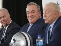 Dallas Cowboys executive vice president Stephen Jones and Dallas Cowboys new head coach Mike McCarthy listen as Dallas Cowboys owner and general manager Jerry Jones speaks during a press conference in the Ford Center at The Star in Frisco, on Wednesday, January 8, 2020.