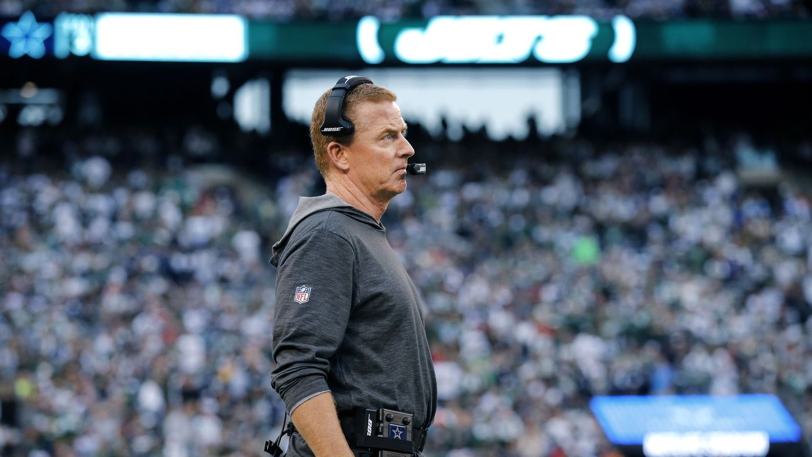 Dallas Cowboys head coach Jason Garrett watches his team play the New York Jets during the first half at MetLife Stadium in East Rutherford, New Jersey, Sunday, October 13, 2019.