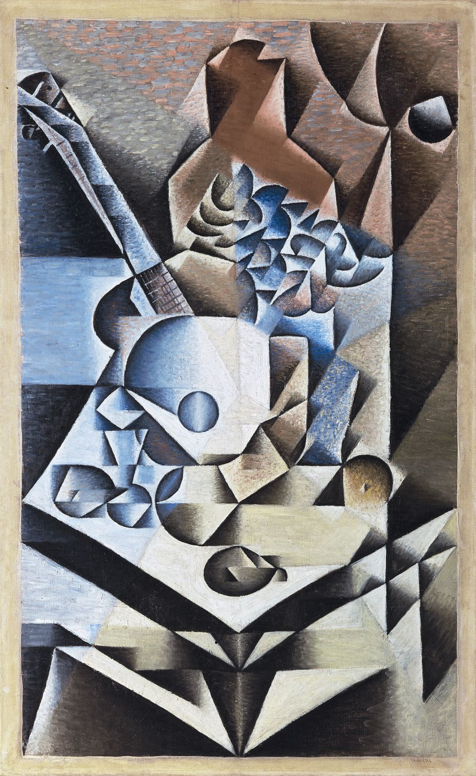 """Juan Gris' early cubist works, like the 1912 painting """"Still Life with Flowers,"""" were done in the analytical style."""