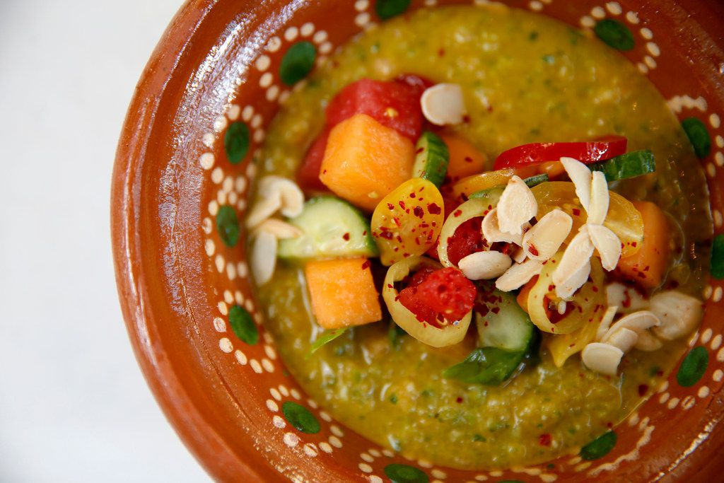 A dish of Melon Gazpacho at the new restaurant called Billy Can Can in Dallas, Saturday, June 9, 2018. (Jae S. Lee/The Dallas Morning News)