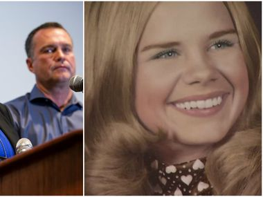 During a news conference on Tuesday, Fort Worth police Detective Leah Wagner (left photo) announced the arrest of Glen Samuel McCurley in connection with the 1974 murder of 17-year-old Carla Walker (right photo)