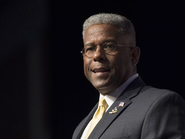 In this Thursday, June 19, 2014 photo, former congressman and retired Lt. Col. Allen West speaks during Faith and Freedom Coalition's Road to Majority event in Washington.