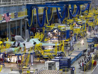 Final assembly is done on multiple F-35 fighter jets at the Lockheed Martin facility in Fort Worth. Three variants of the F-35 are all assembled on the same production line: the F-35A, F-35B, and F-35C.