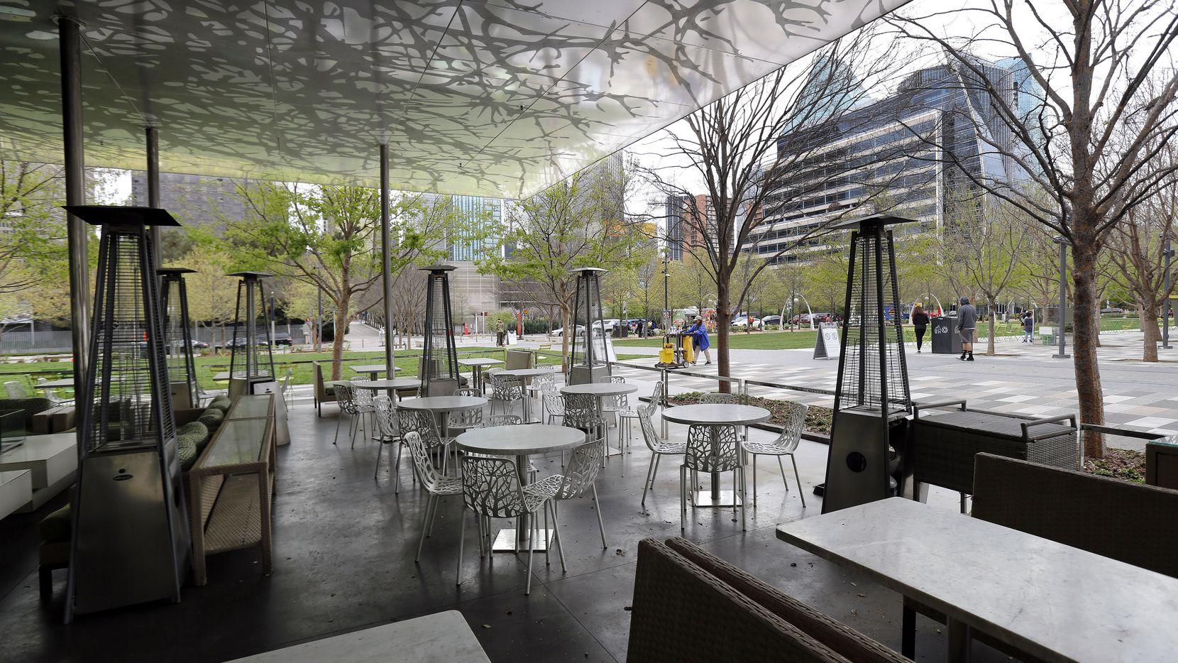 Empty outdoor seating at Savor restaurant at Klyde Warren Park on March 21, 2020.