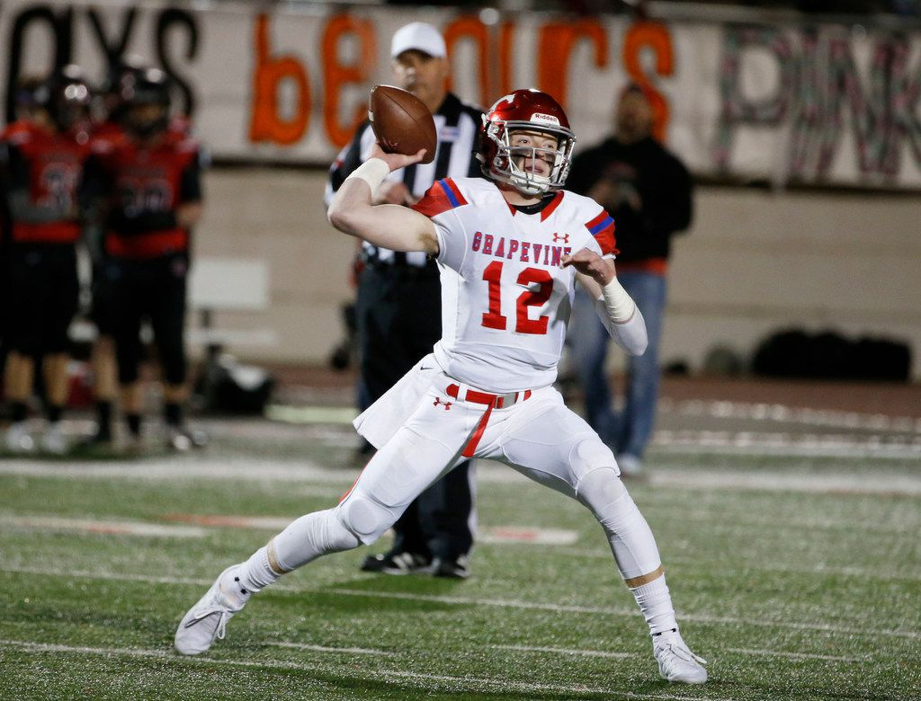 Grapevine quarterback Alan Bowman (12) throws against Colleyville Heritage during their high school football game in Grapevine, Texas, on October 27, 2017. (Michael Ainsworth/Special Contributor)