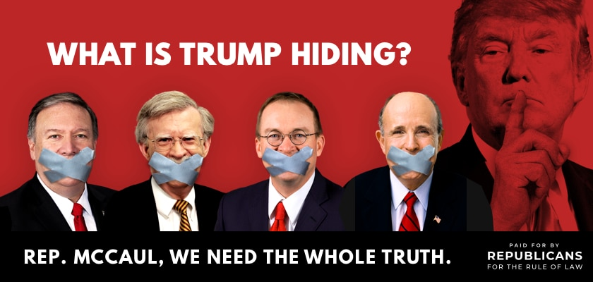 Digital billboard from Republicans for the Rule of Law, appearing in Brenham, Texas, to pressure Rep. Michael McCaul, R-Austin. The group unveiled the pressure tactic on Dec. 11, 2019.