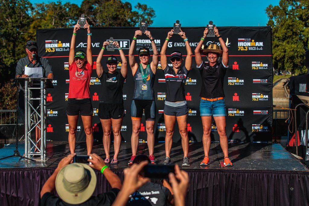 The top five finishers, including Brandi Grissom Swicegood second from the right, in the women s 40-44 age group at the Ironman 70.3 Waco.