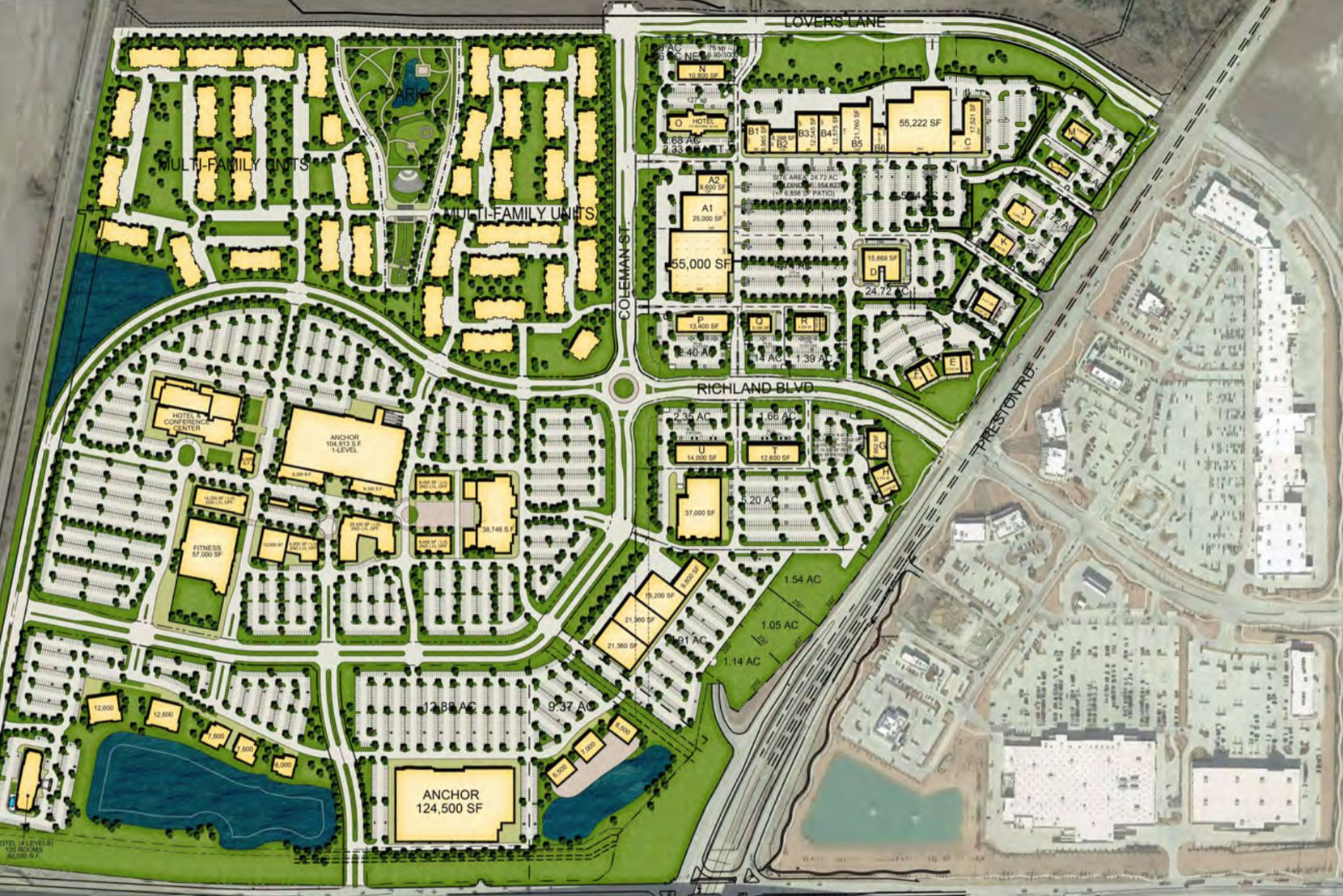 The Gates of Prosper apartment project is planned at the northwest corner of Coleman Street and Richland Boulevard, west of Preston Road.