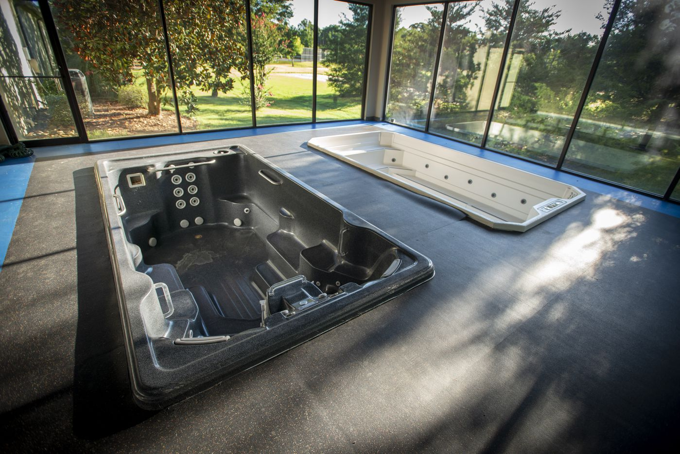 Jacuzzis inside the gymnasium at 5101 Kensington Ct., in Flower Mound, Texas on August 19, 2020. (Robert W. Hart/Special Contributor)