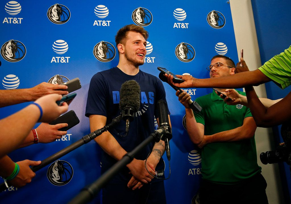 Mavericks guard/forward Luka Doncic talks with the media after a Dallas Mavericks NBA Summer League practice at the Mavericks' training facility in Dallas, Tuesday, July 3, 2018. (Jae S. Lee/The Dallas Morning News)