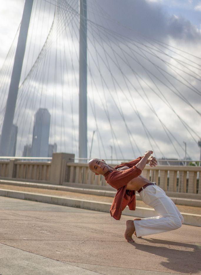 Dancer-choreographer Sean J. Smith strutting his stuff on the Margaret Hunt Hill Bridge.
