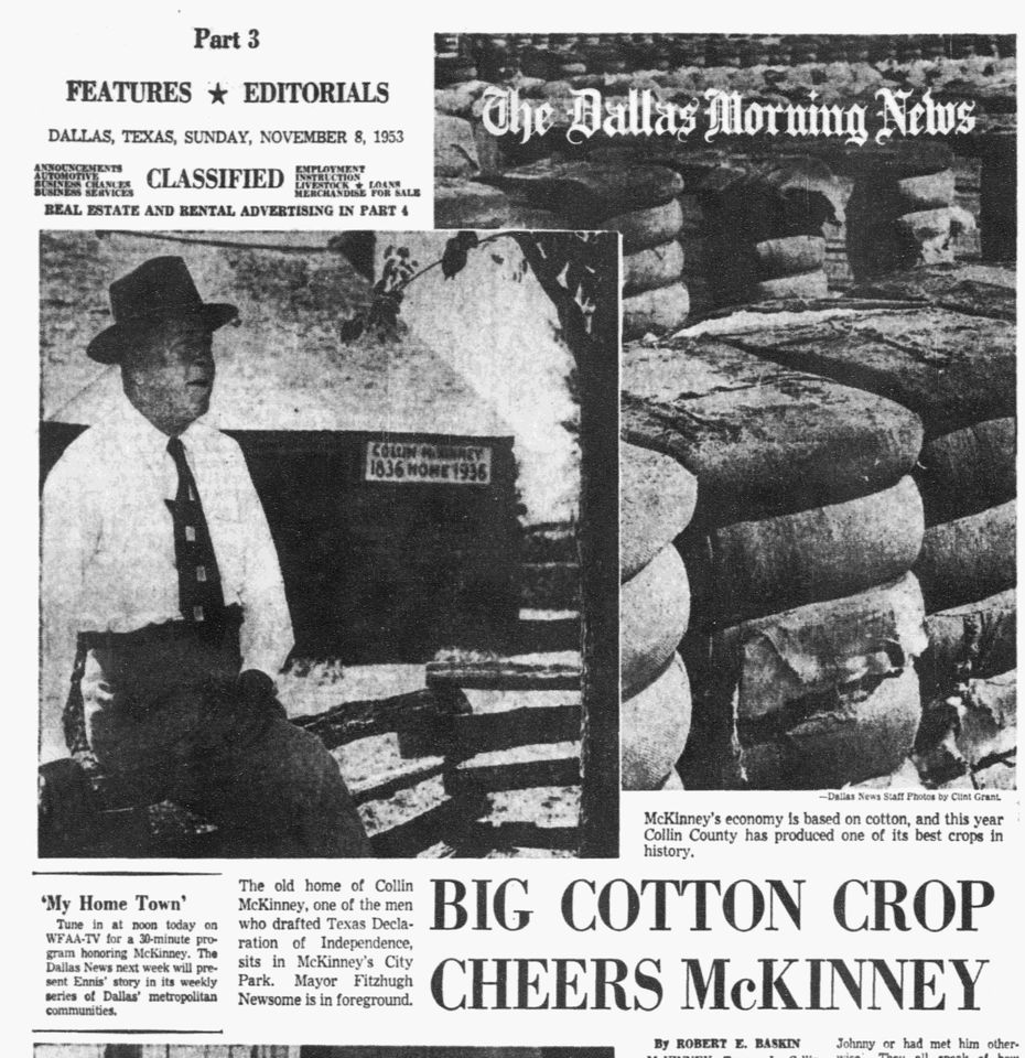 Dallas Morning News article published on Nov. 8, 1953.