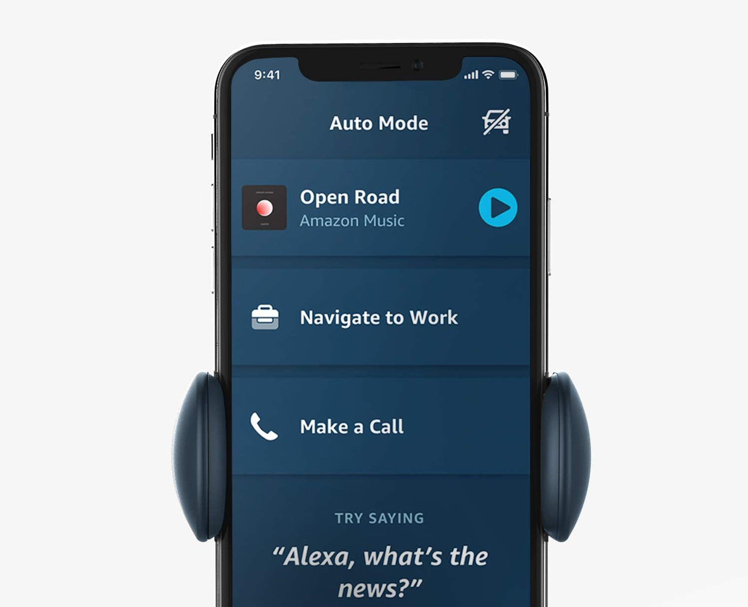 The Amazon Alexa app opens in Auto Mode when connected to the iOttie Aivo Connect.