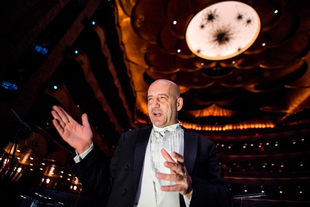 Dallas Opera music director Emmanuel Villaume speaks before conducting Tosca at the Metropolitan Opera in New York on January 23. He will conduct Dallas Opera's two new shows this month.