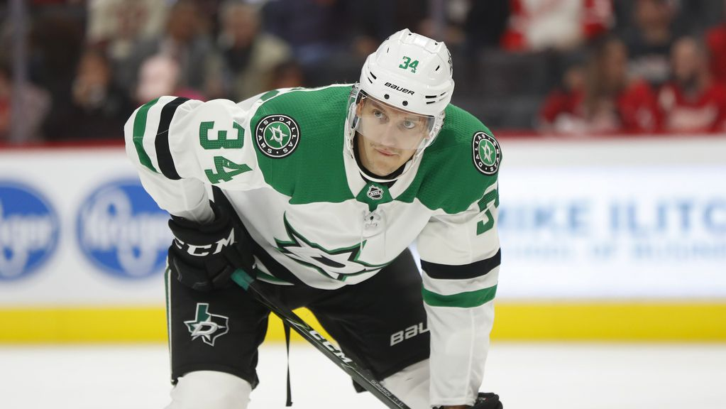 Dallas Stars right wing Denis Gurianov plays against the Detroit Red Wings in the first period of an NHL hockey game, Sunday, Oct. 6, 2019, in Detroit. (AP Photo/Paul Sancya)