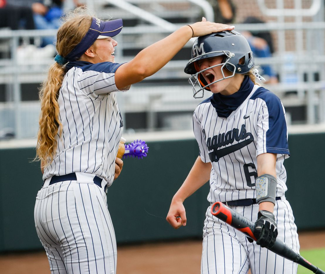 Flower Mound McKenna Andrews (6) celebrates running to home during the sixth inning of a Class 6A bi-district playoff game against McKinney Boyd on Friday, April 30, 2021, in Denton. Flower Mound won, 2-0. (Juan Figueroa/The Dallas Morning News)