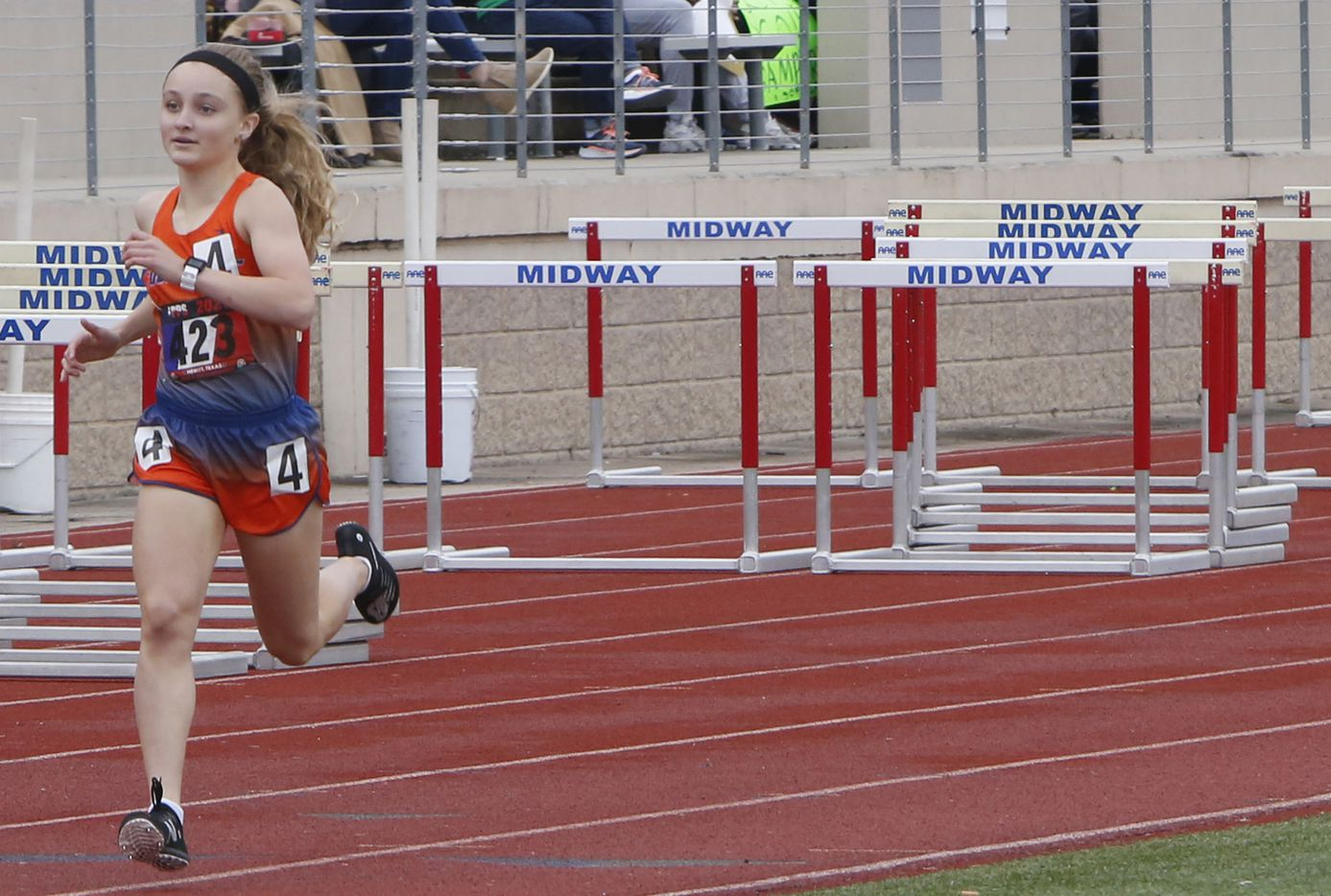 Colleyville Covenant's Emily Smith finishes first with plenty of elbow room to win the Class 4A Women 800 Meter Run event with a time of 2:20.50. The running finals from the TAPPS state track meet were held at Waco Midway's Panther Stadium in Hewitt on May 1, 2021. (Steve Hamm/ Special Contributor)