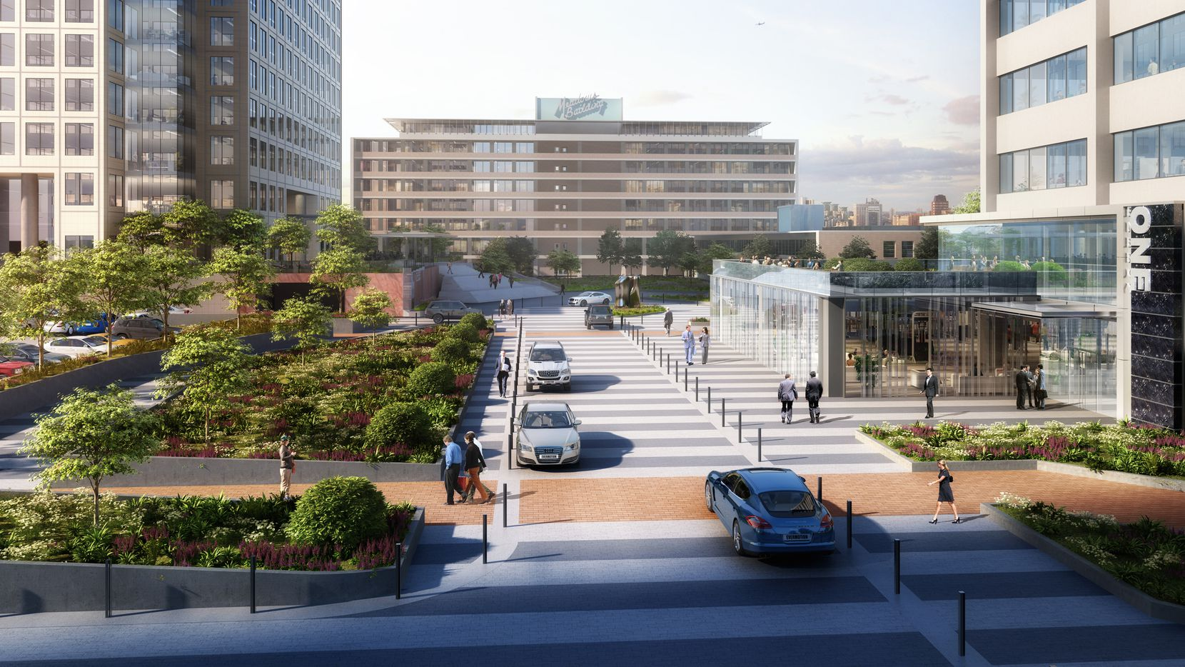 A new central boulevard and pedestrian access will link Energy Square and the historic Meadows Building.