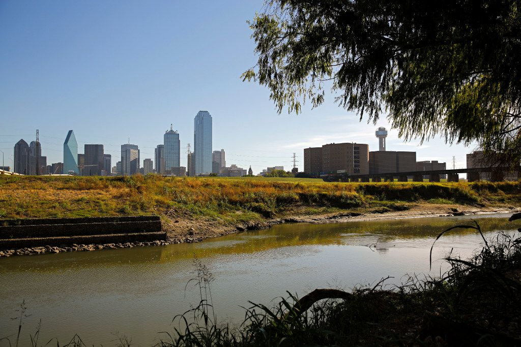 Downtown Dallas is seen in the background near the Trinity River Monday, October 31, 2016 in Dallas. Mayor Mike Rawlings announced Monday the donation of $50 million to help fund a park in the area. (G.J. McCarthy/The Dallas Morning News)