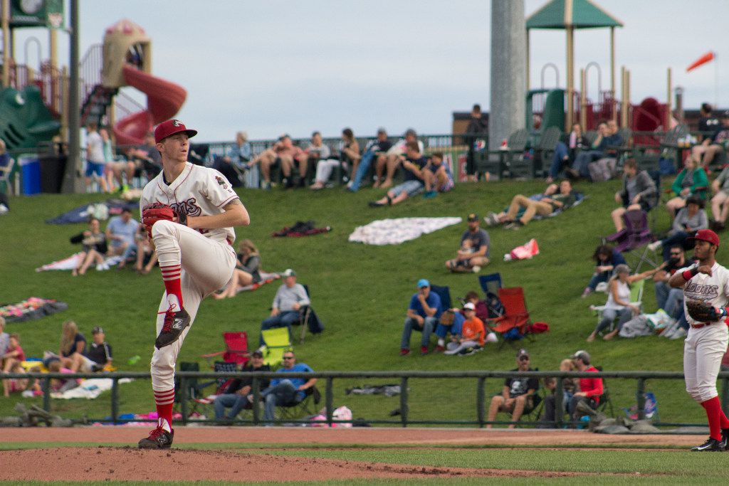 A.J. Alexy winds up to pitch for the Great Lakes Loons. Alexy joined the Rangers' minor league system July 31,2017, as part of the Rangers trade that sent Yu Darvish to the Los Angeles Dodgers. (Photo by Great Lakes Loons)
