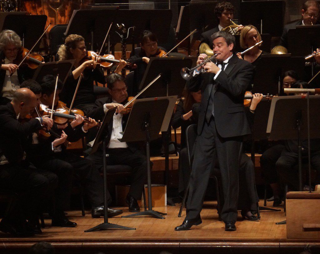 Dallas Symphony Orchestra principal trumpet Ryan Anthony performing with the orchestra at the Meyerson Symphony Center.