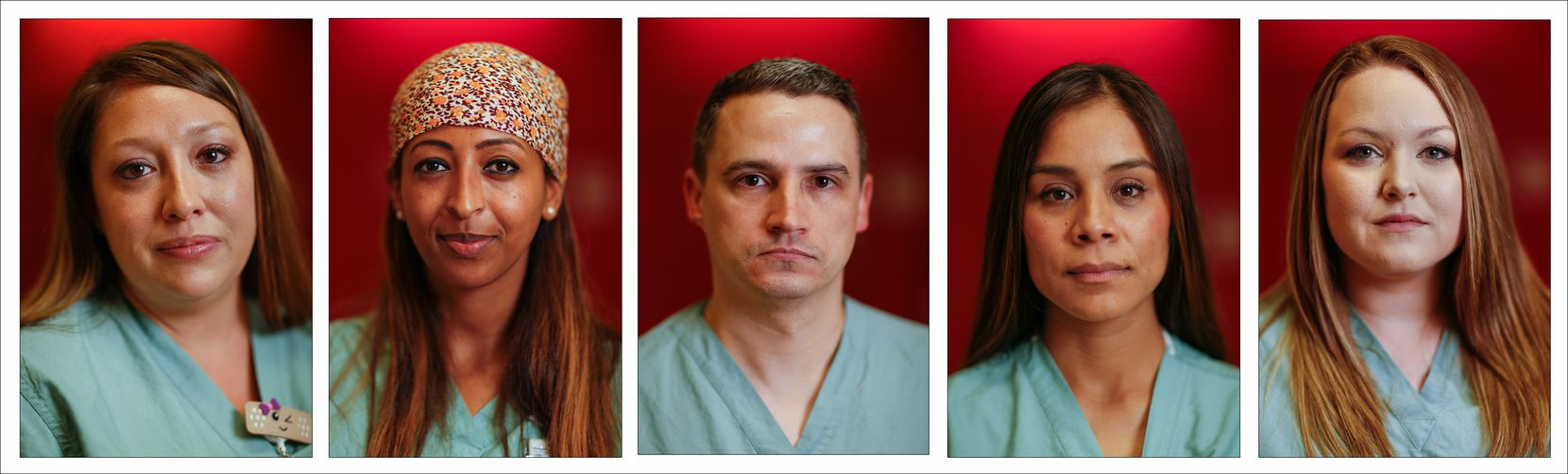 From left: Nurses Shasha Niederhaus, Liyu Daniel, Tyler Brookshire, Perla Sanchez-Perez and Rebecca Berry are pictured in this composite collage photographed outside the COVID-19 Tactical Care Unit at Parkland Memorial Hospital on Wednesday.