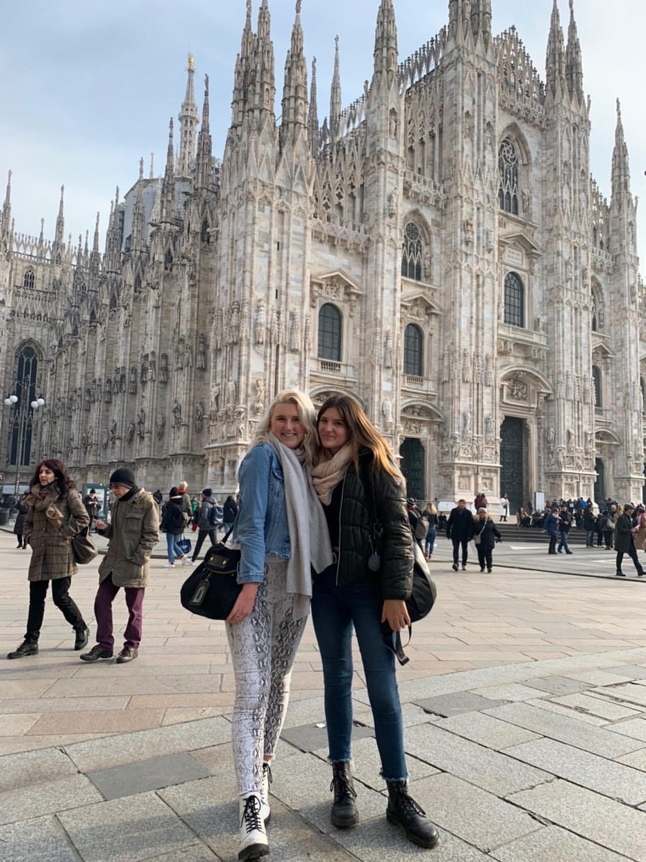 Lizzie Loftus (left), an SMU junior, is among a group of students in a study-abroad program in Milan. With her is Sam Koutnik, a University of Daytona student.