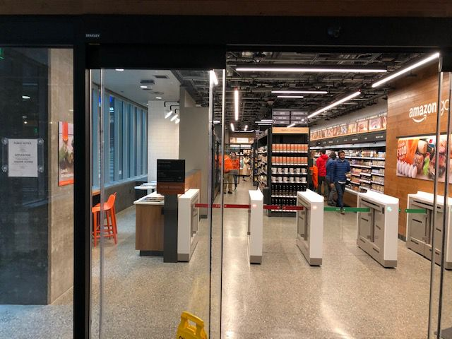 The entry of an Amazon Go store in Seattle, being tested before a nationwide rollout.