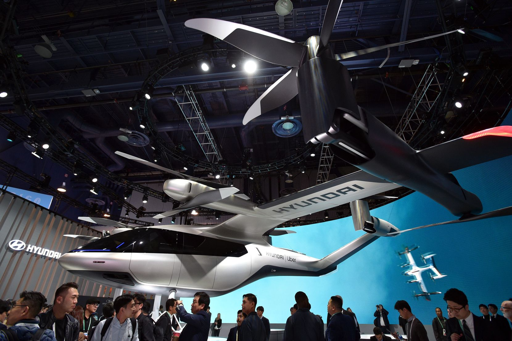 LAS VEGAS, NEVADA - JANUARY 07:  Hyundai and Uber's all-electric full-scale electric air taxi, S-AI, is displayed during CES 2020 at the Las Vegas Convention Center on January 7, 2020 in Las Vegas, Nevada. CES, the world's largest annual consumer technology trade show, runs through January 10 and features about 4,500 exhibitors showing off their latest products and services to more than 170,000 attendees. (Photo by David Becker/Getty Images)