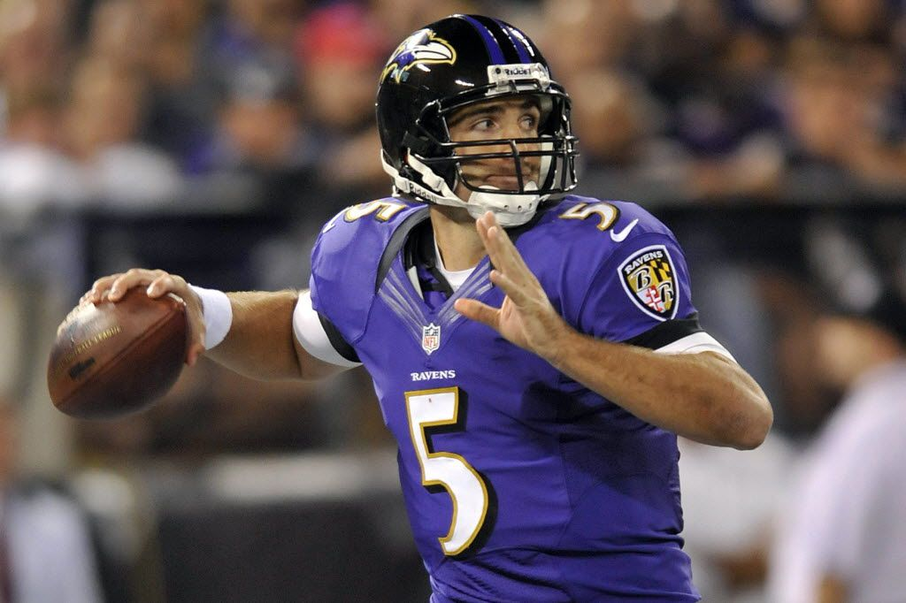 Baltimore Ravens quarterback Joe Flacco throws to a receiver in the second half of an NFL football game against the Cincinnati Bengals in Baltimore, Monday, Sept. 10, 2012.