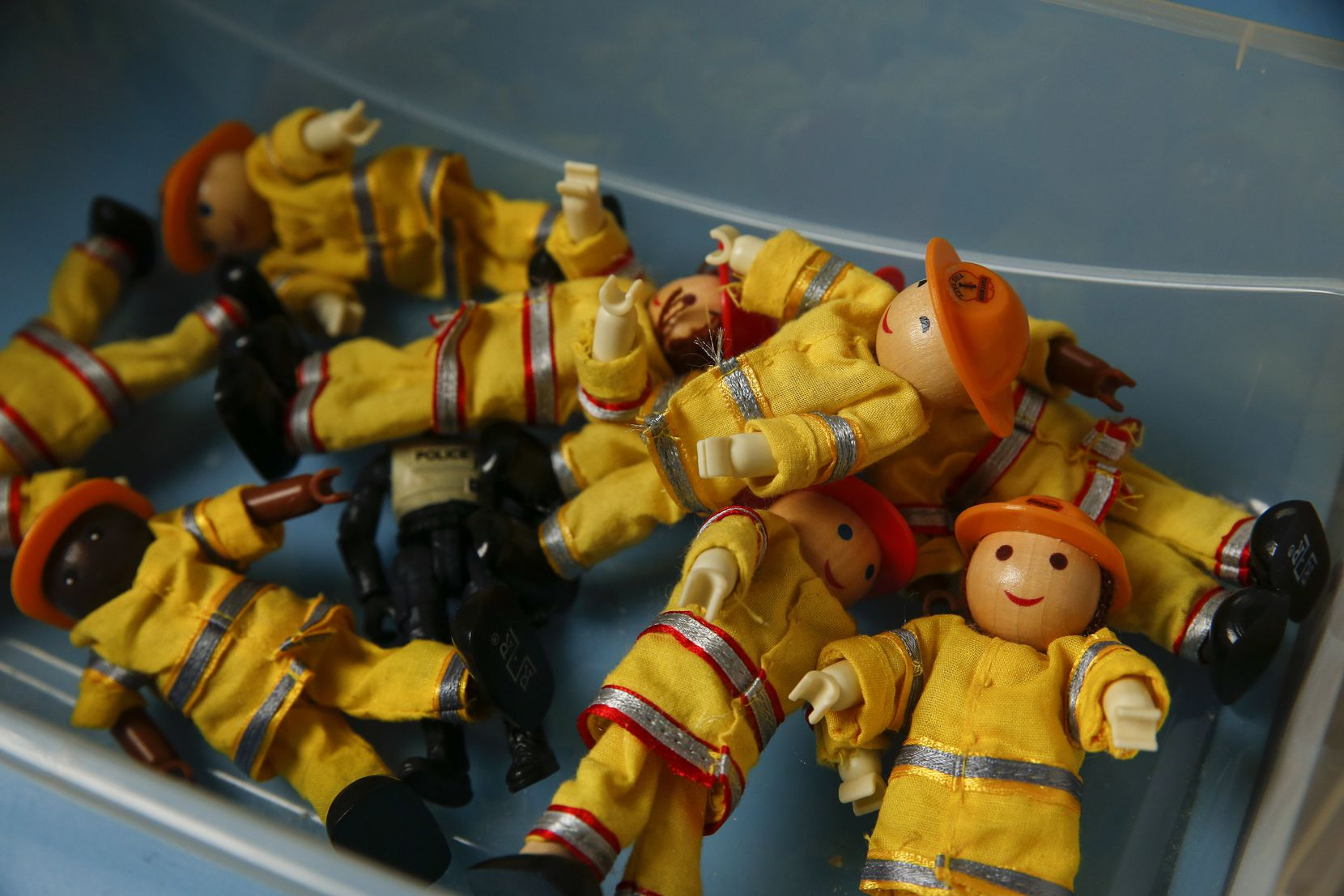 Firefighter dolls in a therapy play room at Momentous Institute in Dallas.