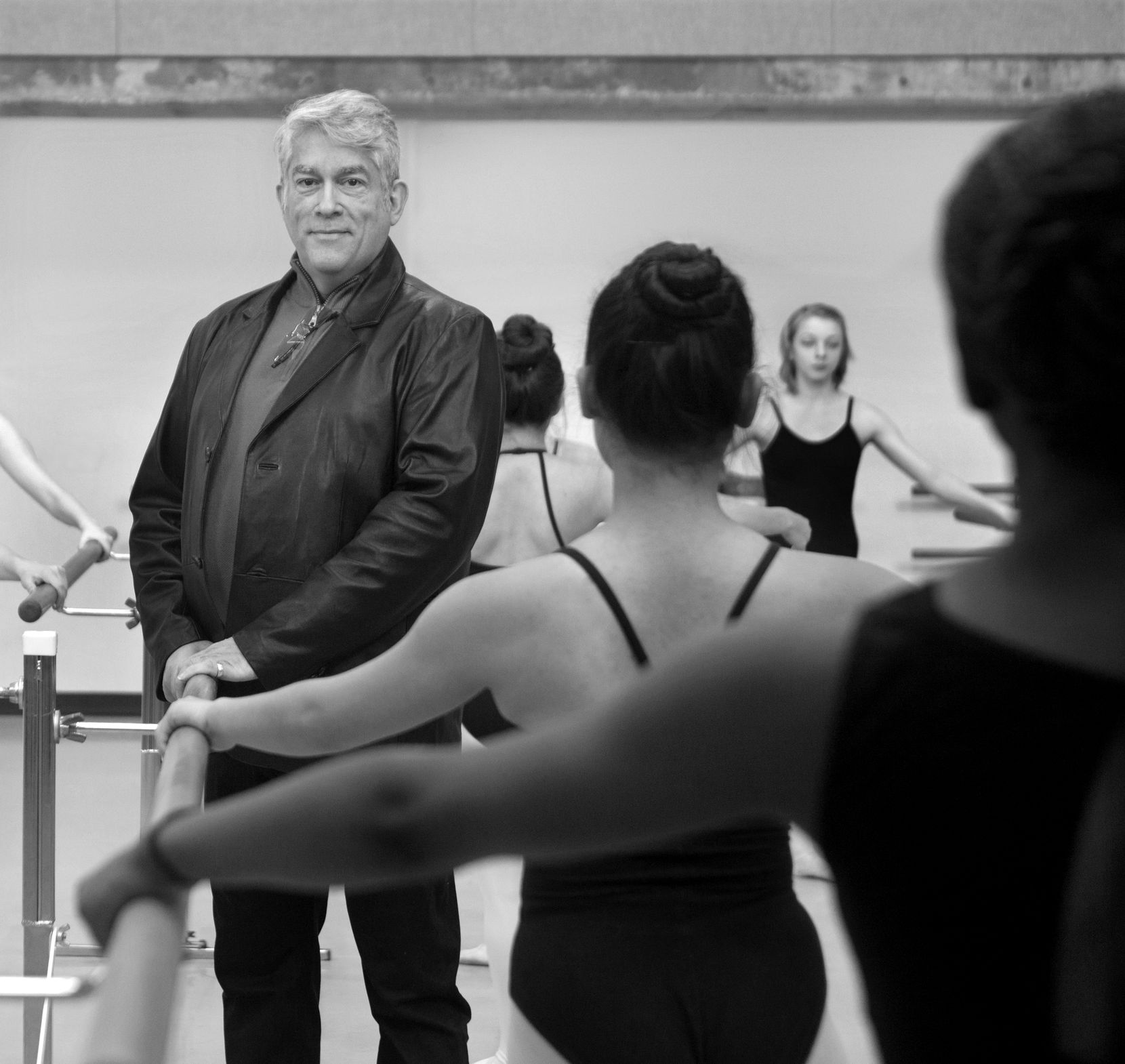 Charles Santos, executive director and artistic director of TITAS. Photographed with dance students in class at the Booker T. Washington High School for the Performing and Visual Arts in Dallas in 2015.