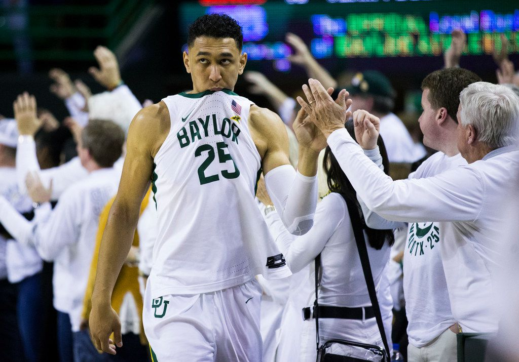 Baylor Bears forward Tristan Clark (25) reacts to a 64-61 loss to Kansas Jayhawks after an NCAA men's basketball game between Baylor University and Kansas University on Saturday, February 22, 2020 at Ferrell Center on the Baylor University Campus in Waco.