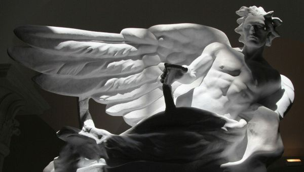 """Frederick Hart's marble sculpture """"The Herald,"""" on display at the Museum of Biblical"""